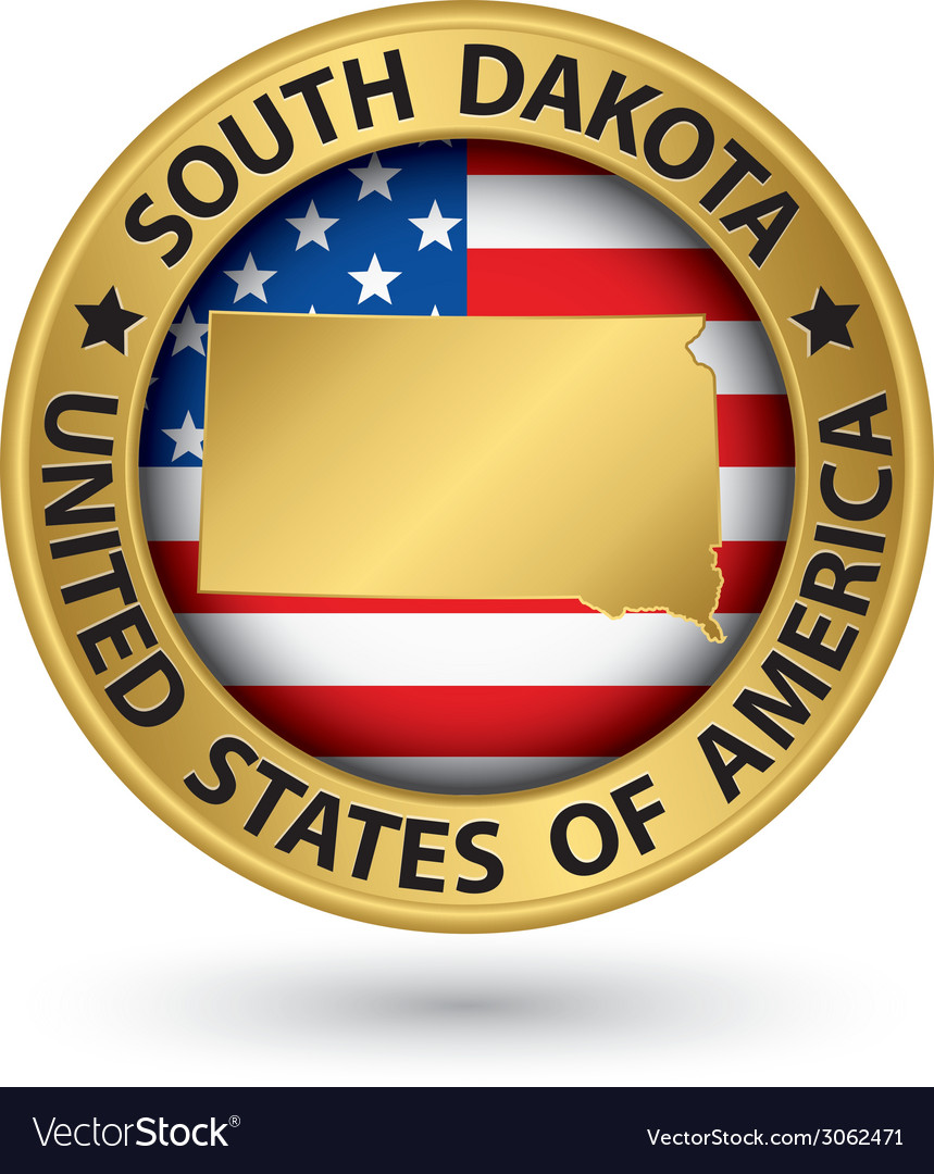South Dakota state gold label with state map vector image