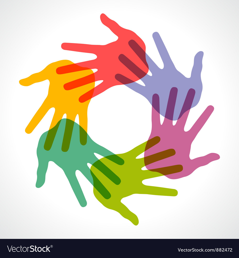 Icon of colorful hand prints vector image