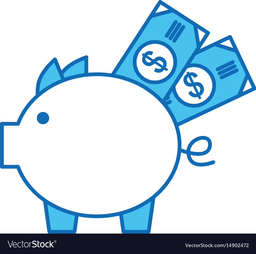 Piggy savings with bills vector image