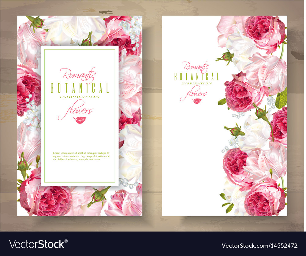 Romantic flowers vertical banners vector image