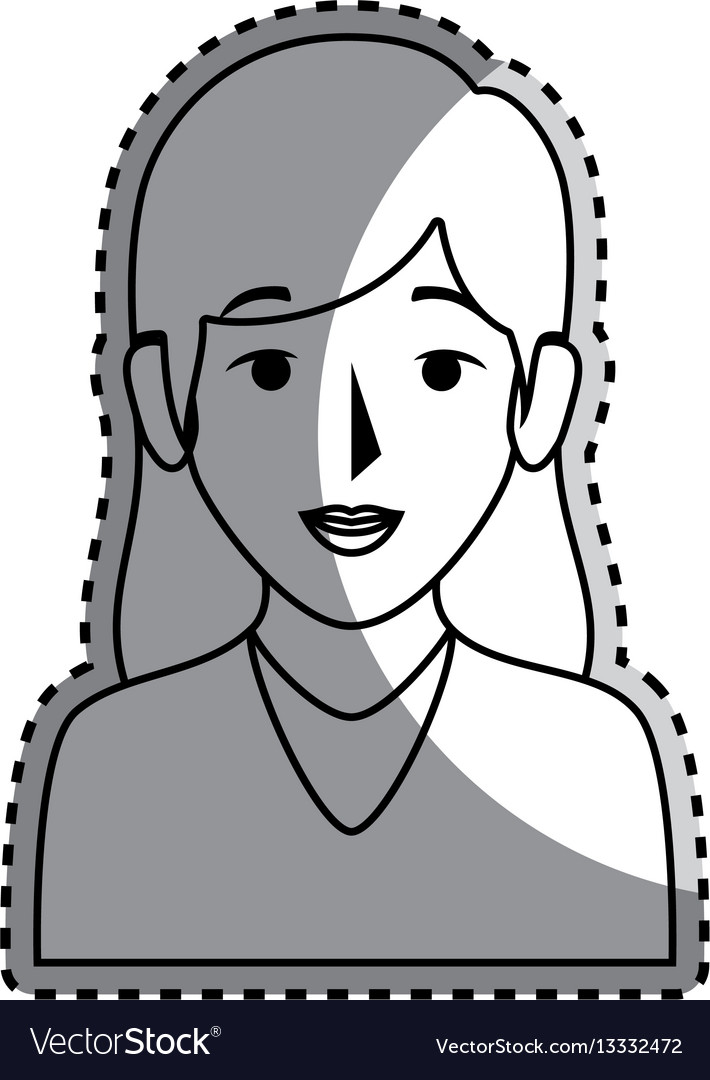 Sticker silhouette half body woman with long hair vector image