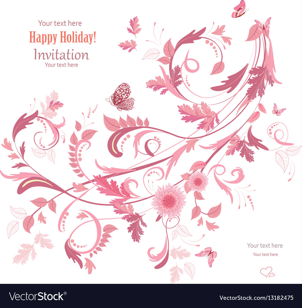 Floral swirl ornament for your design vector image