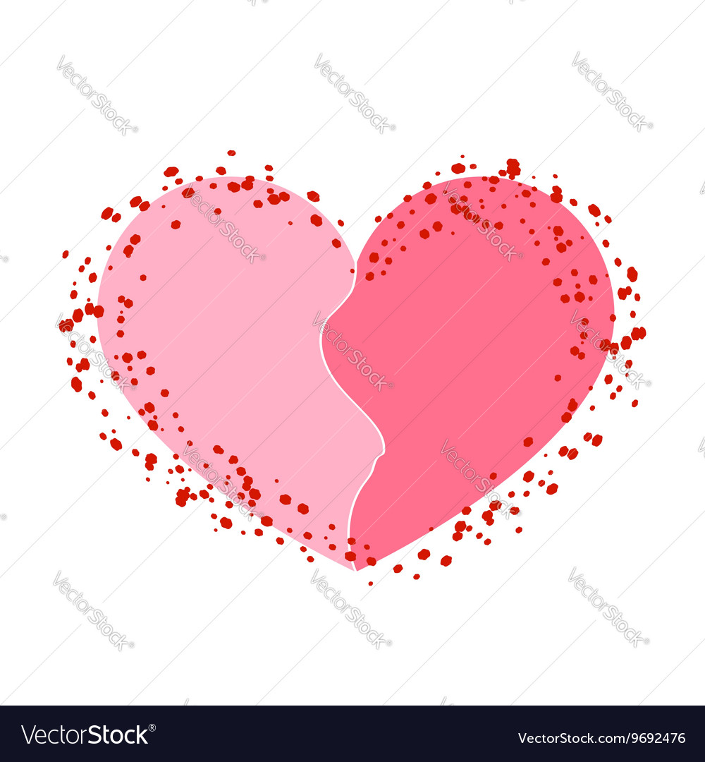 Halves heart icon pink white vector image