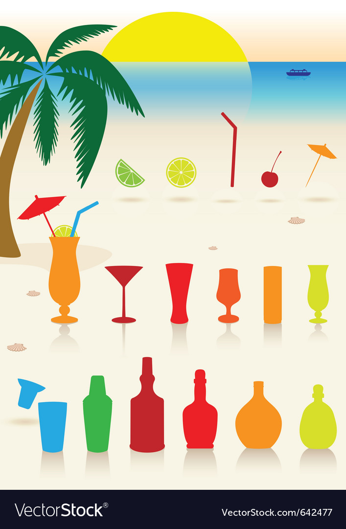 Tropical drinks set vector image