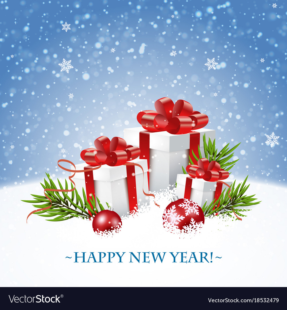 Merry christmas and happy new year card with gift Vector Image  Merry christmas...