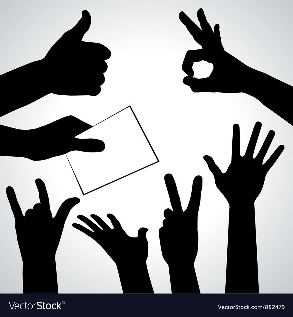 Set of hands silhouettes vector image