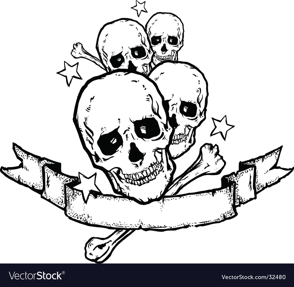 Heavy metal rock banner tattoo Royalty Free Vector Image
