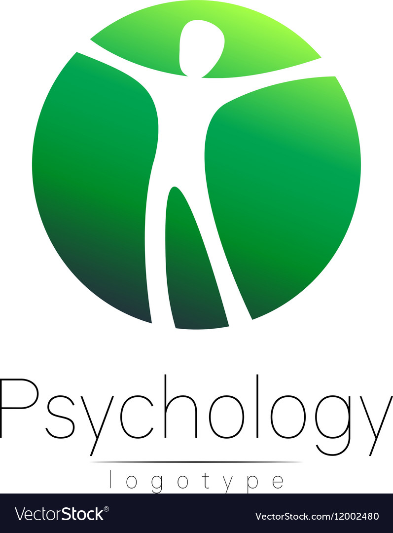 Modern man logo of Psychology Human in a circle vector image