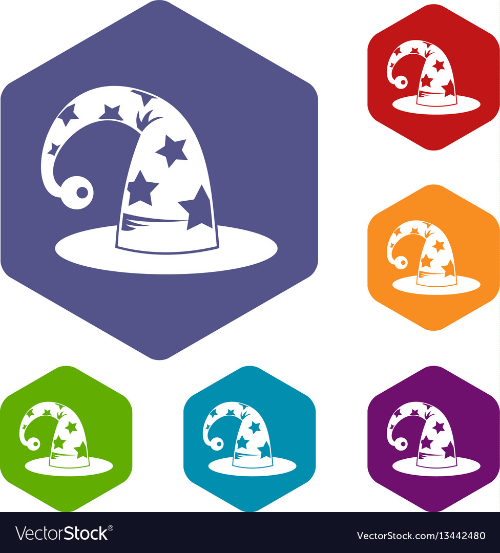 Wizards hat icons set vector image