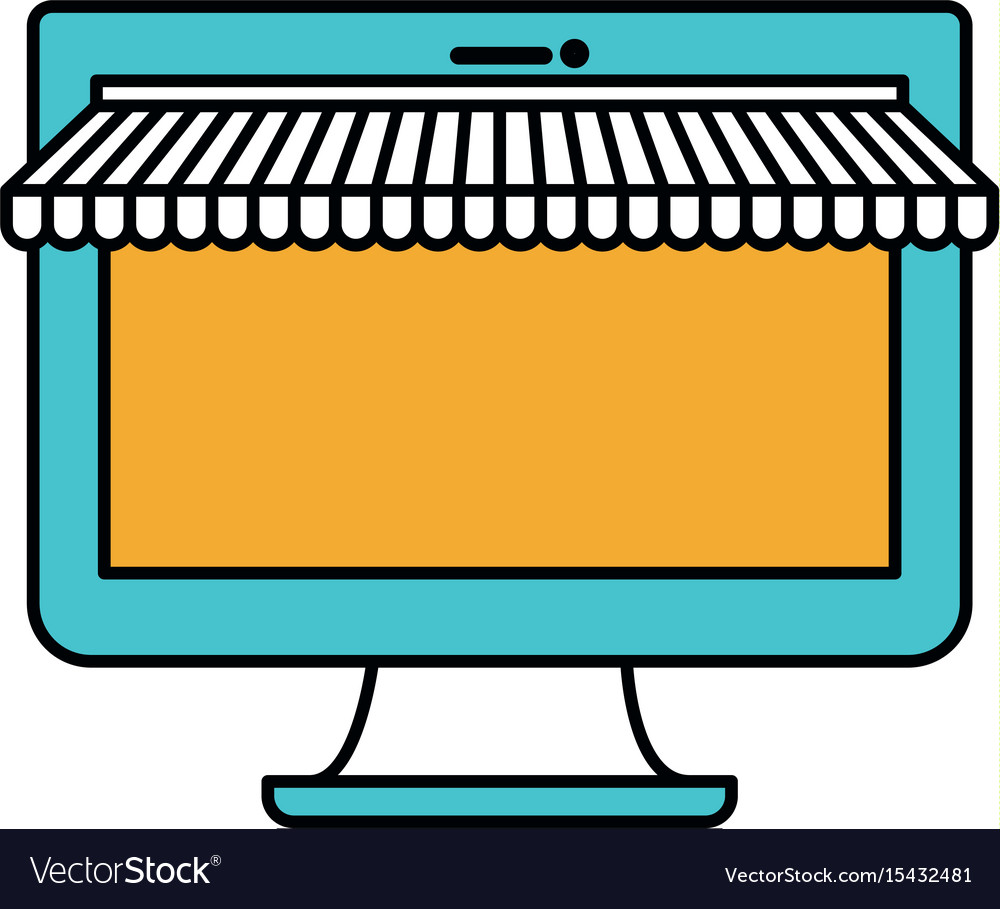 Color sections silhouette of desktop computer vector image
