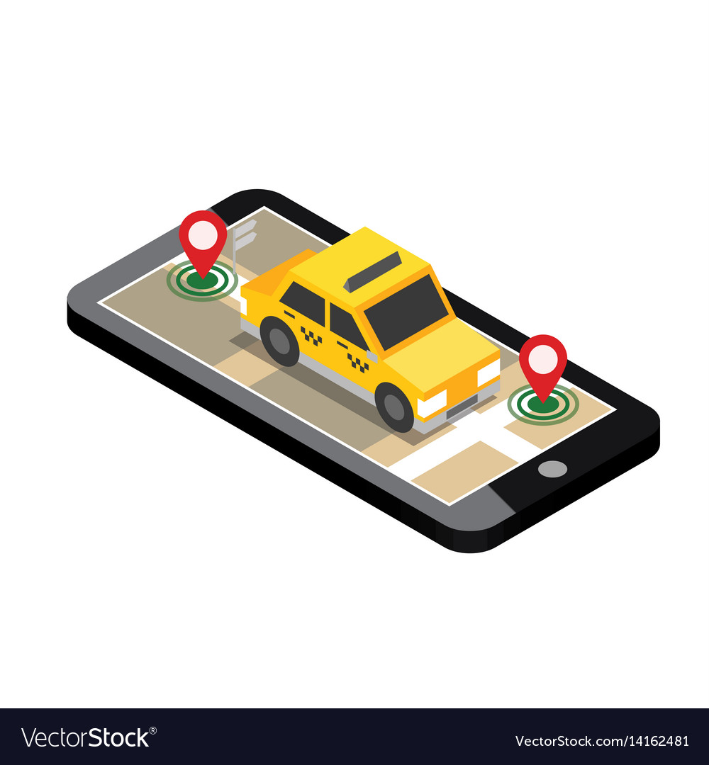 Isometric location mobile geo tracking map taxi vector image