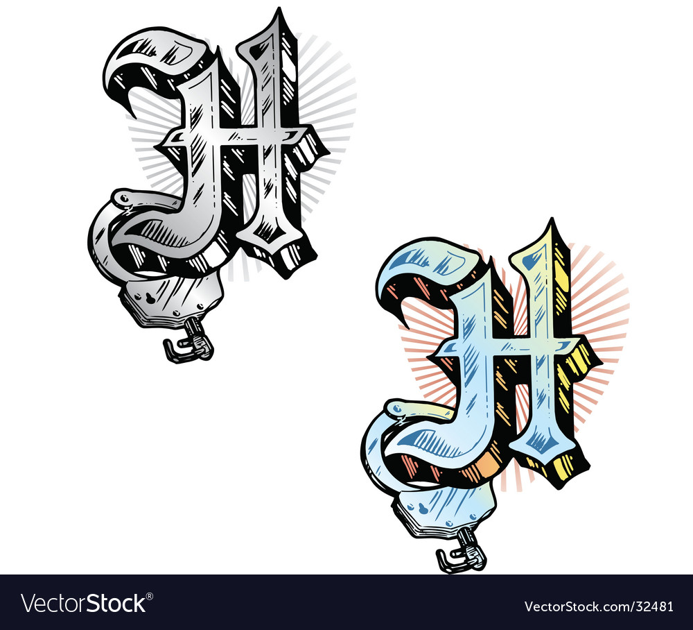 Tattoo letter H vector image