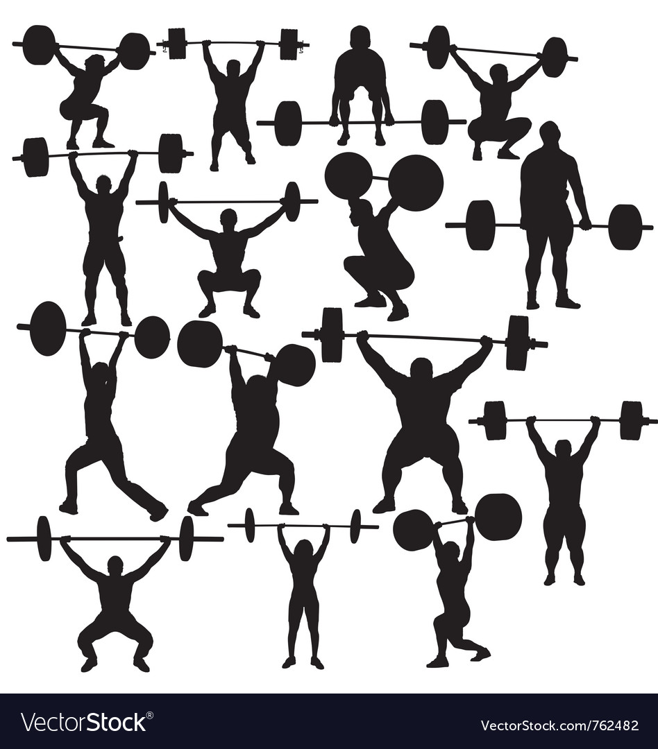 Weightlifter silhouettes vector image