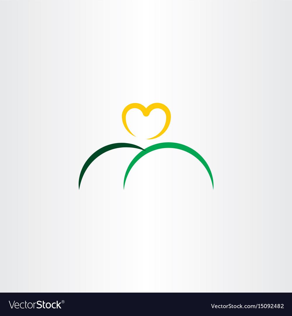 Heart sun and mountain logo icon vector image