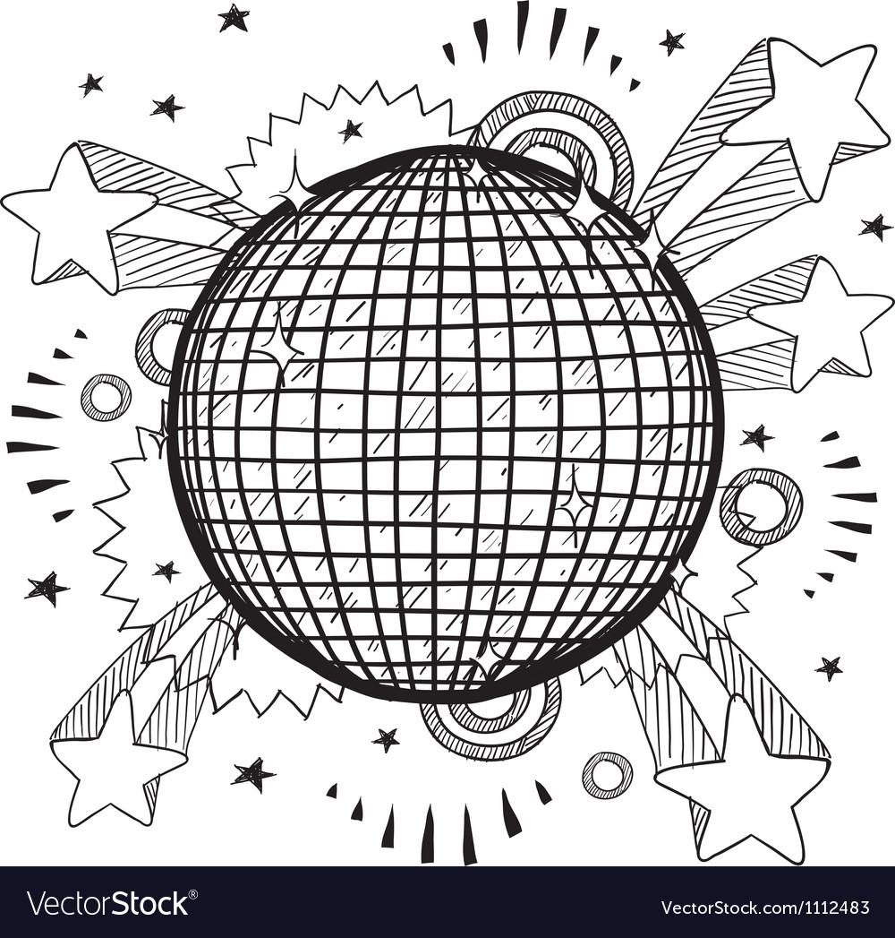 Doodle pop disco ball vector image