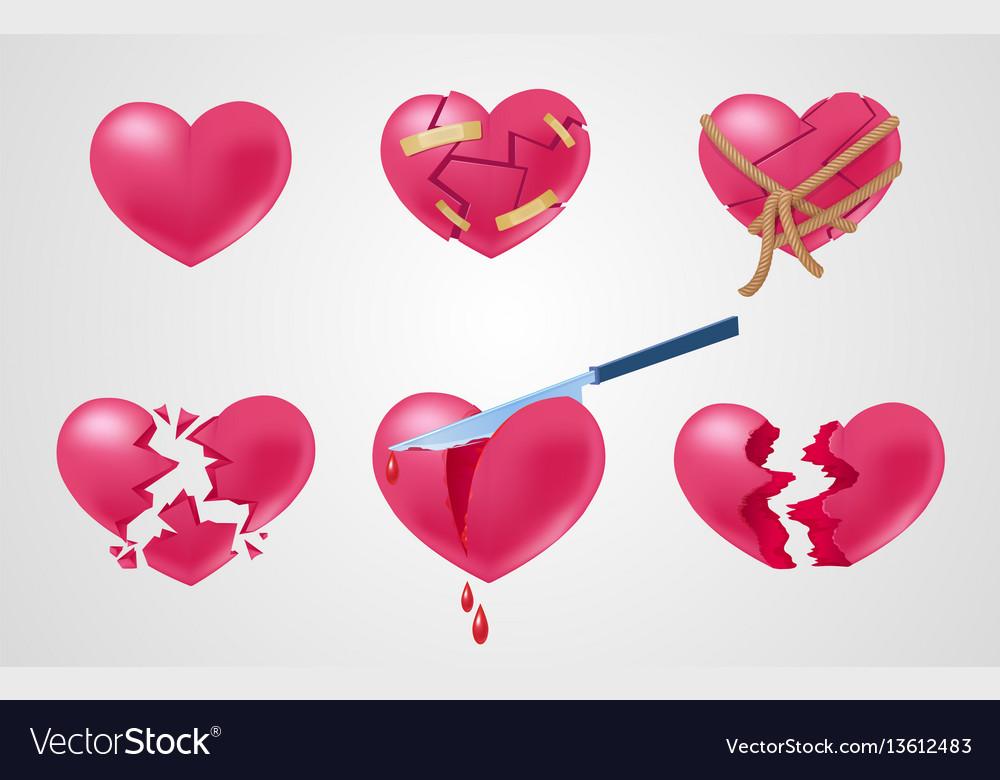 Romantic red elements set vector image