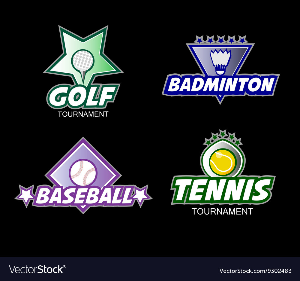 Set of colorful sports logos vector image