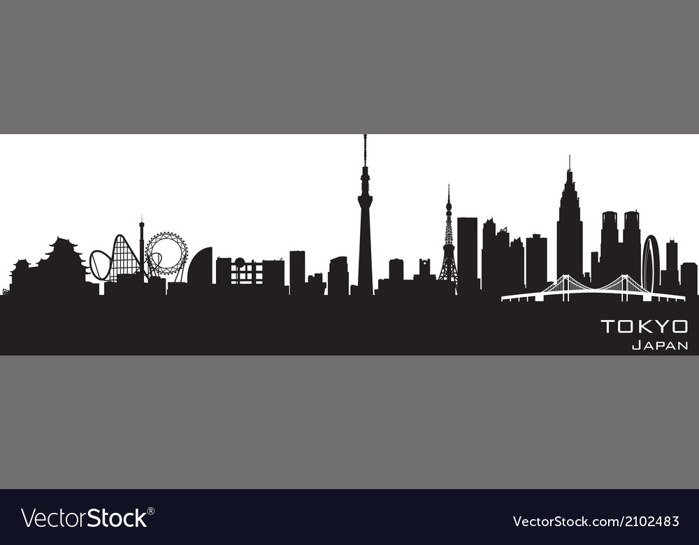Tokyo Japan city skyline Detailed silhouette vector image
