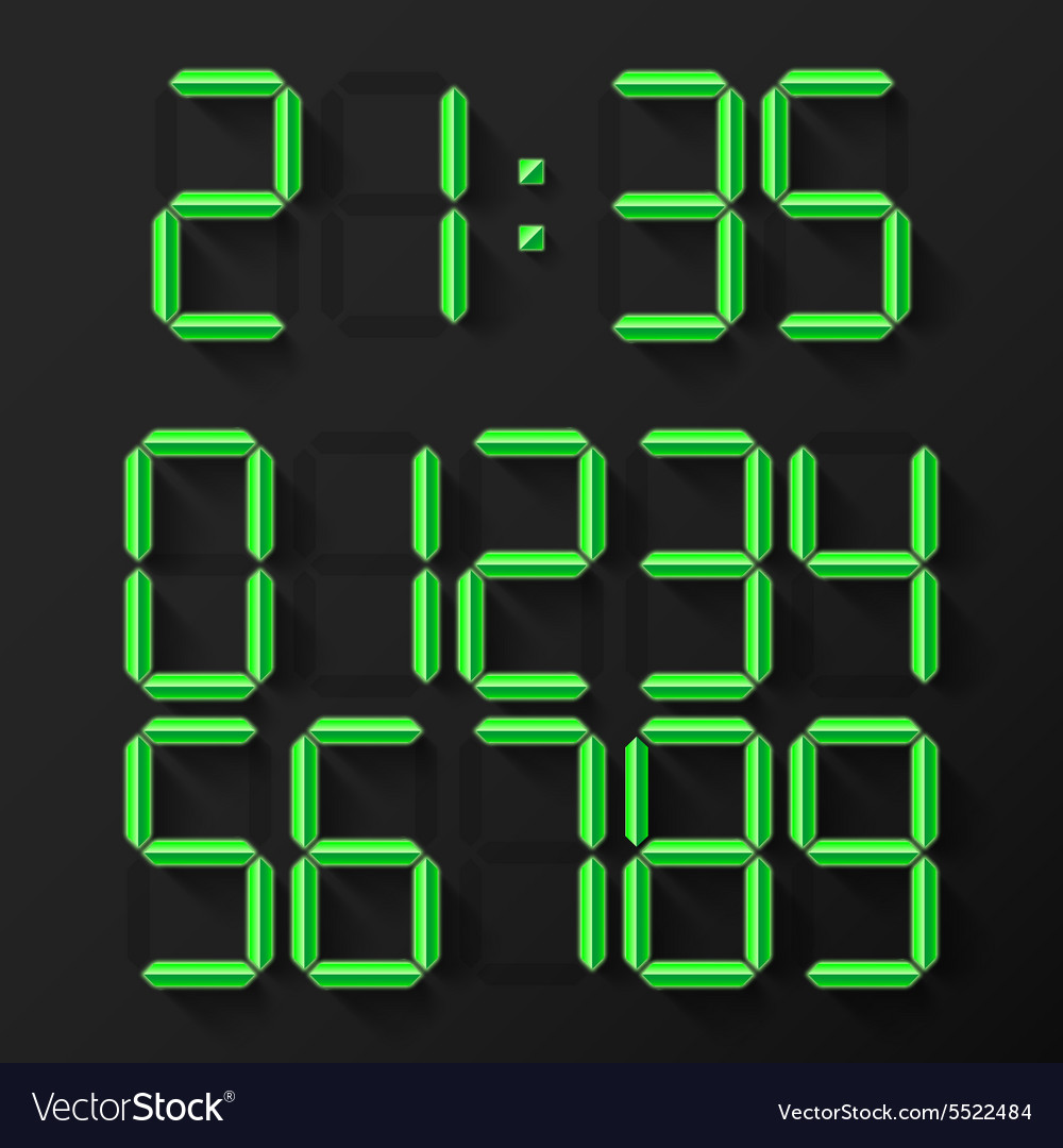 Digital Clock Numbers vector image