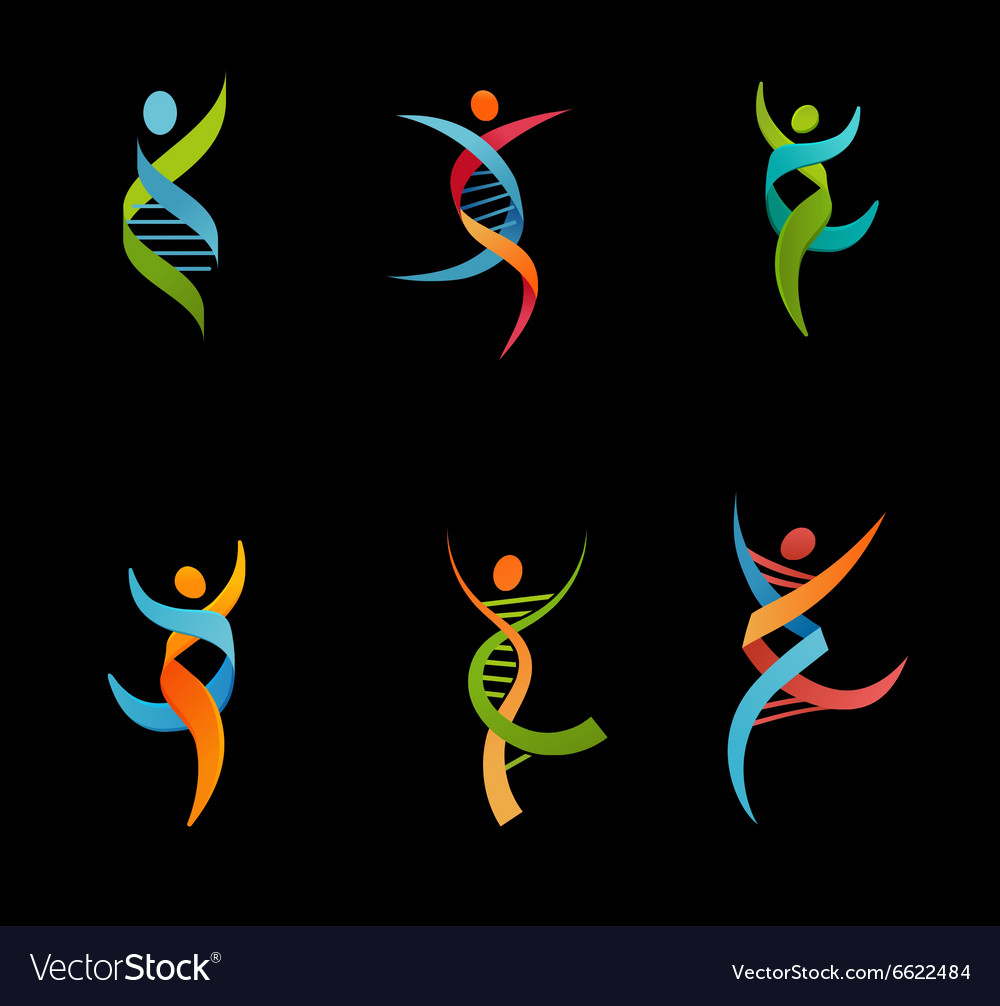 DNA genetic symbol - people man and woman icon vector image
