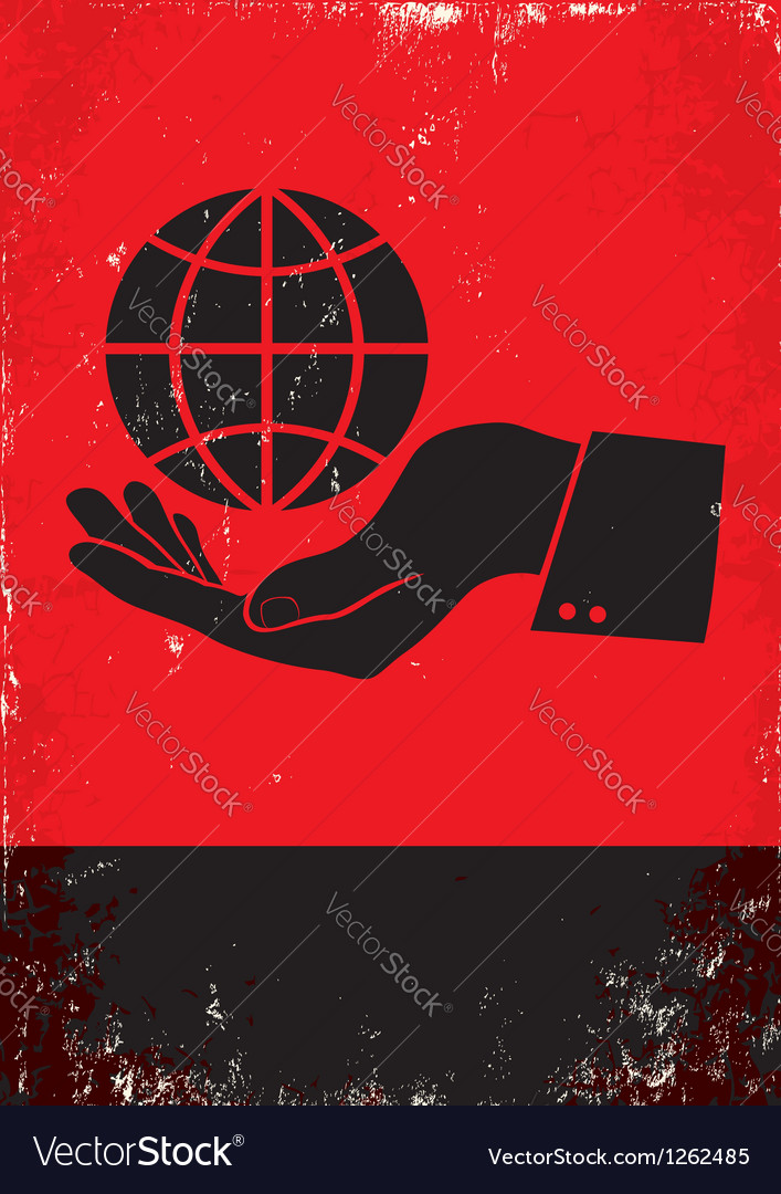 Hand controls the globe vector image