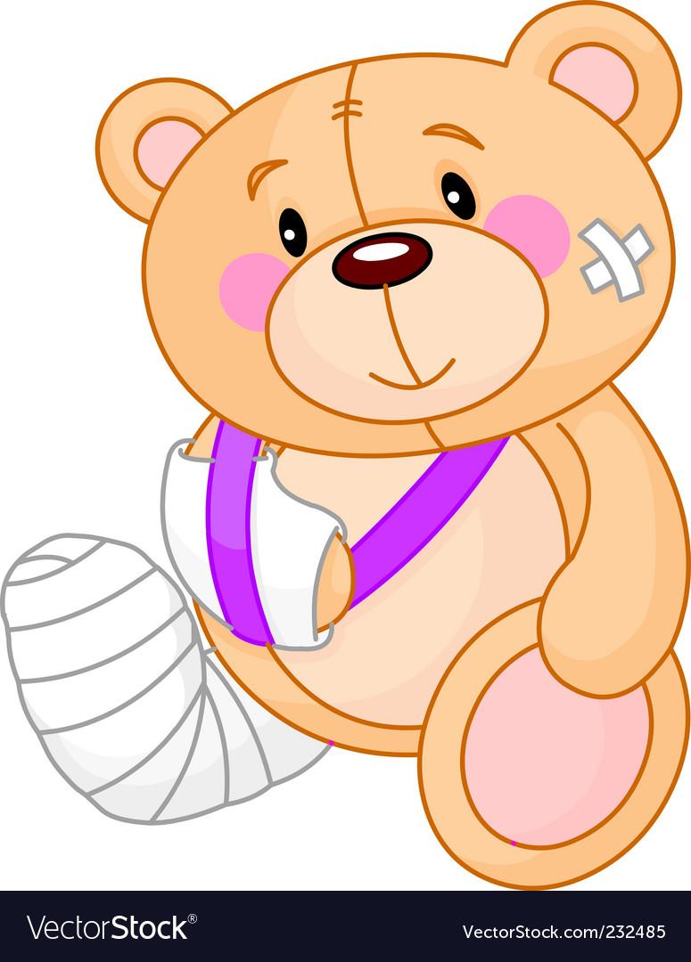 Cartoon sick teddy bear vector image