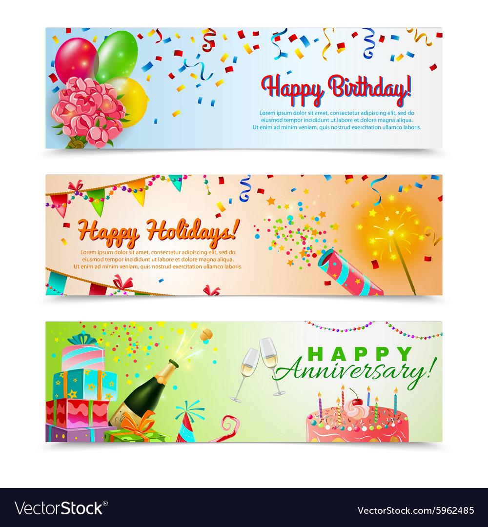 Happy birthday anniversary celebration banners set vector image