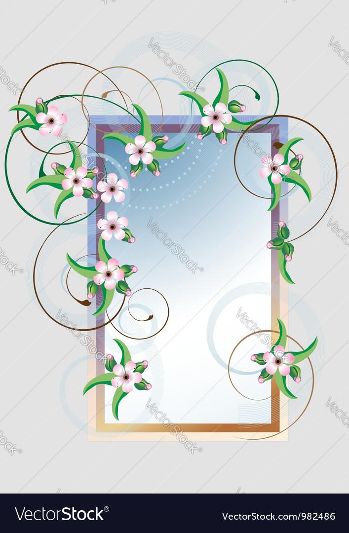 Frame cherry blossom vector image