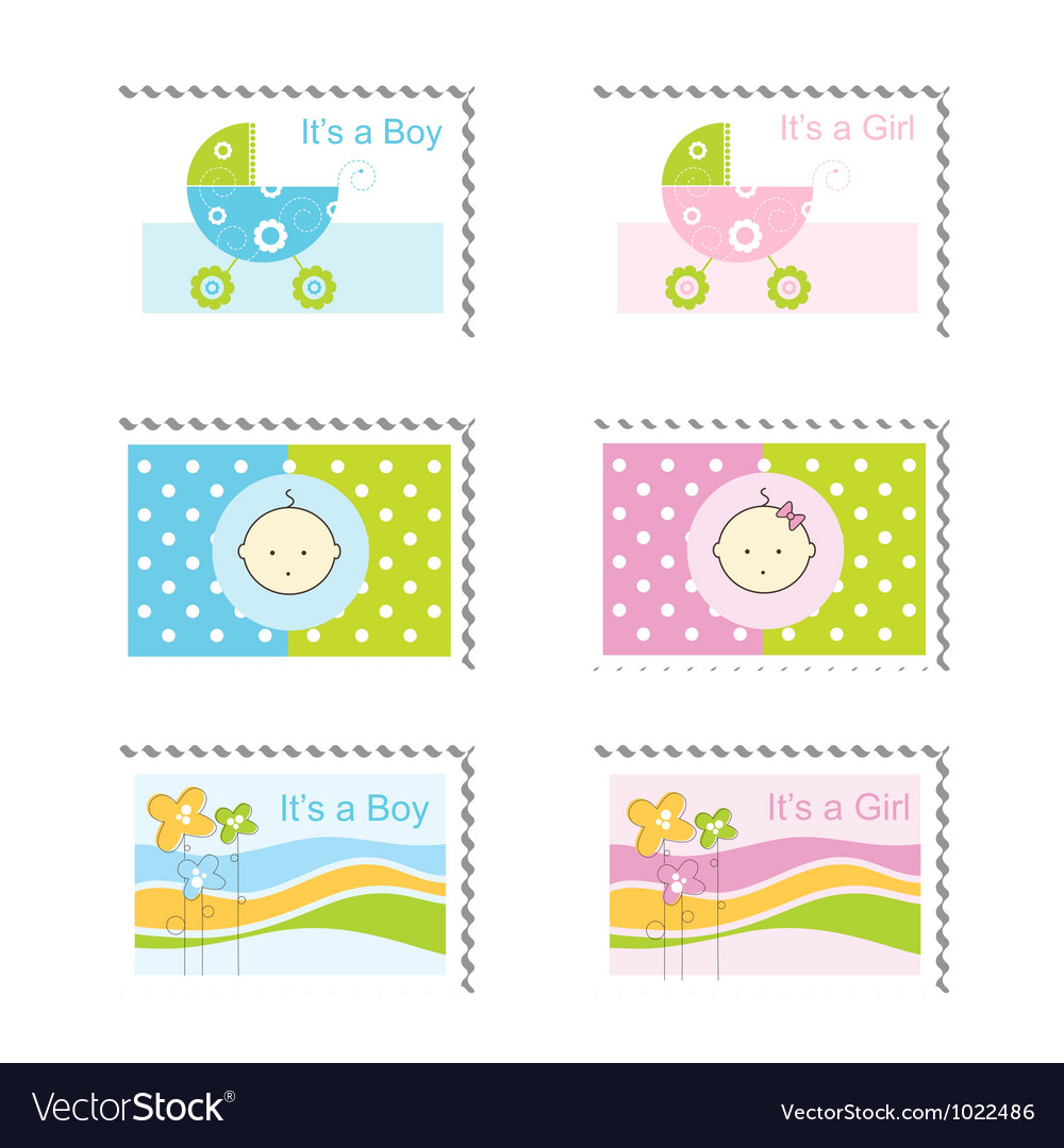 Baby boy arrival card vector by leonart image 600444 vectorstock - Baby Boy Arrival Card Vector By Leonart Image 600444 Vectorstock Baby Shower Stamps Vector Image