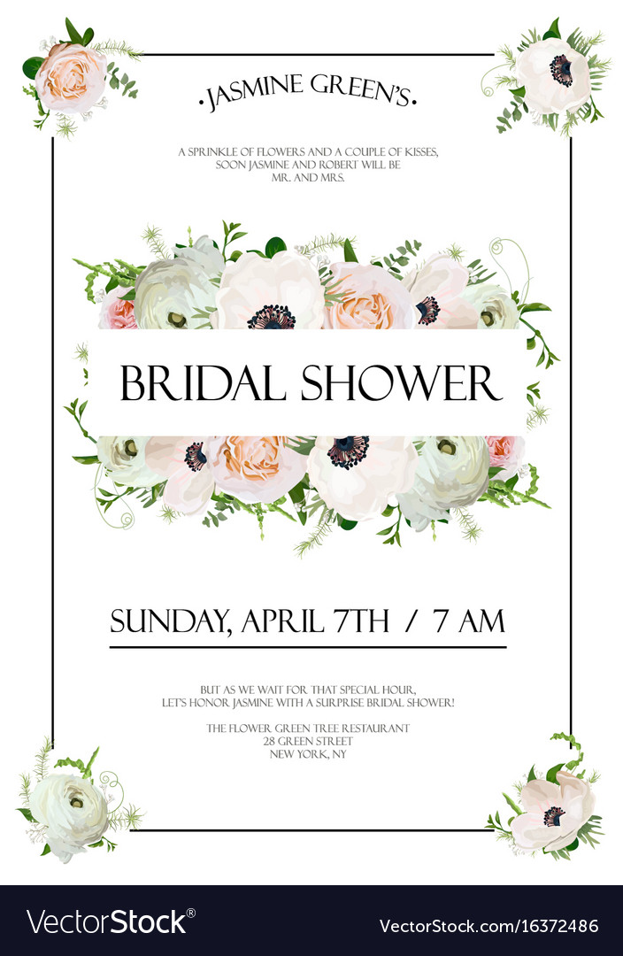 Bridal shower template invitation card design vector image