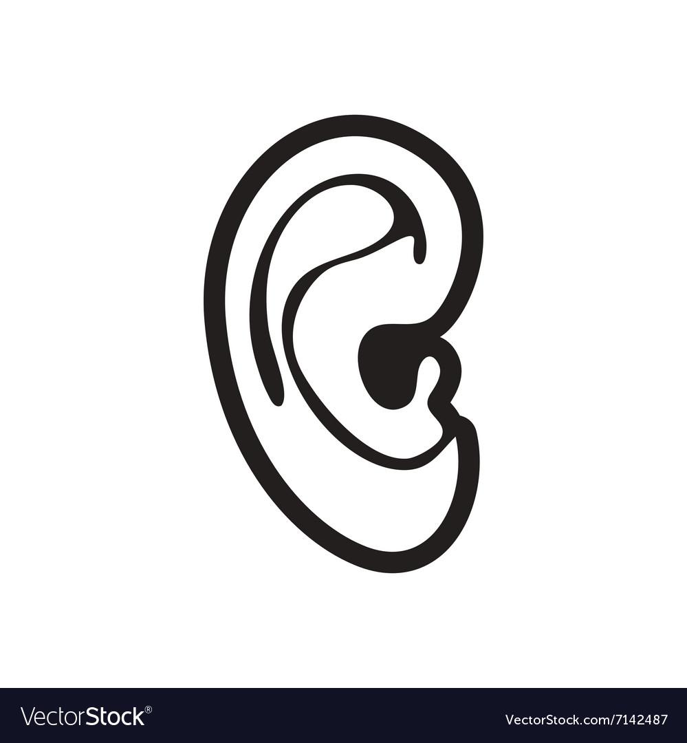 Stylish black and white icon human ear