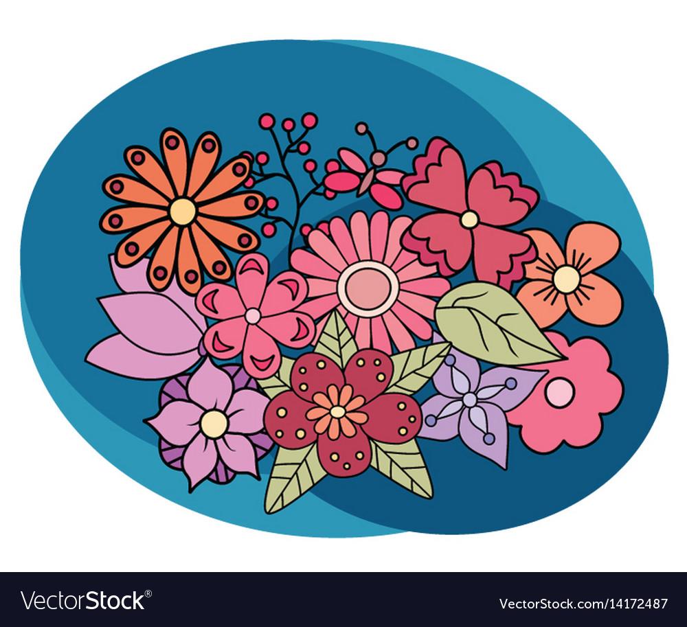 Flowers design set cartoon free hand draw doodle vector image
