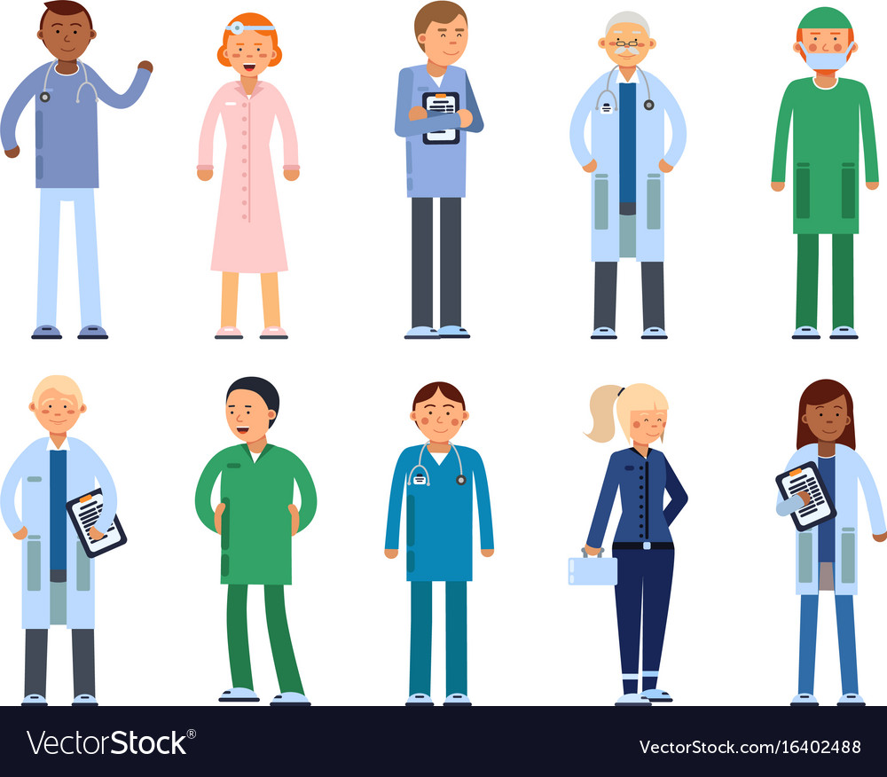 Healthcare people in hospital pharmacist doctor vector image