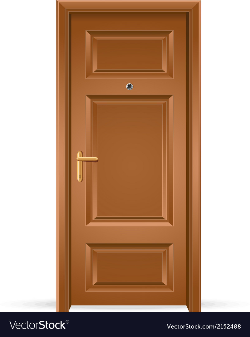 Interior apartment wooden door isolated on white vector image