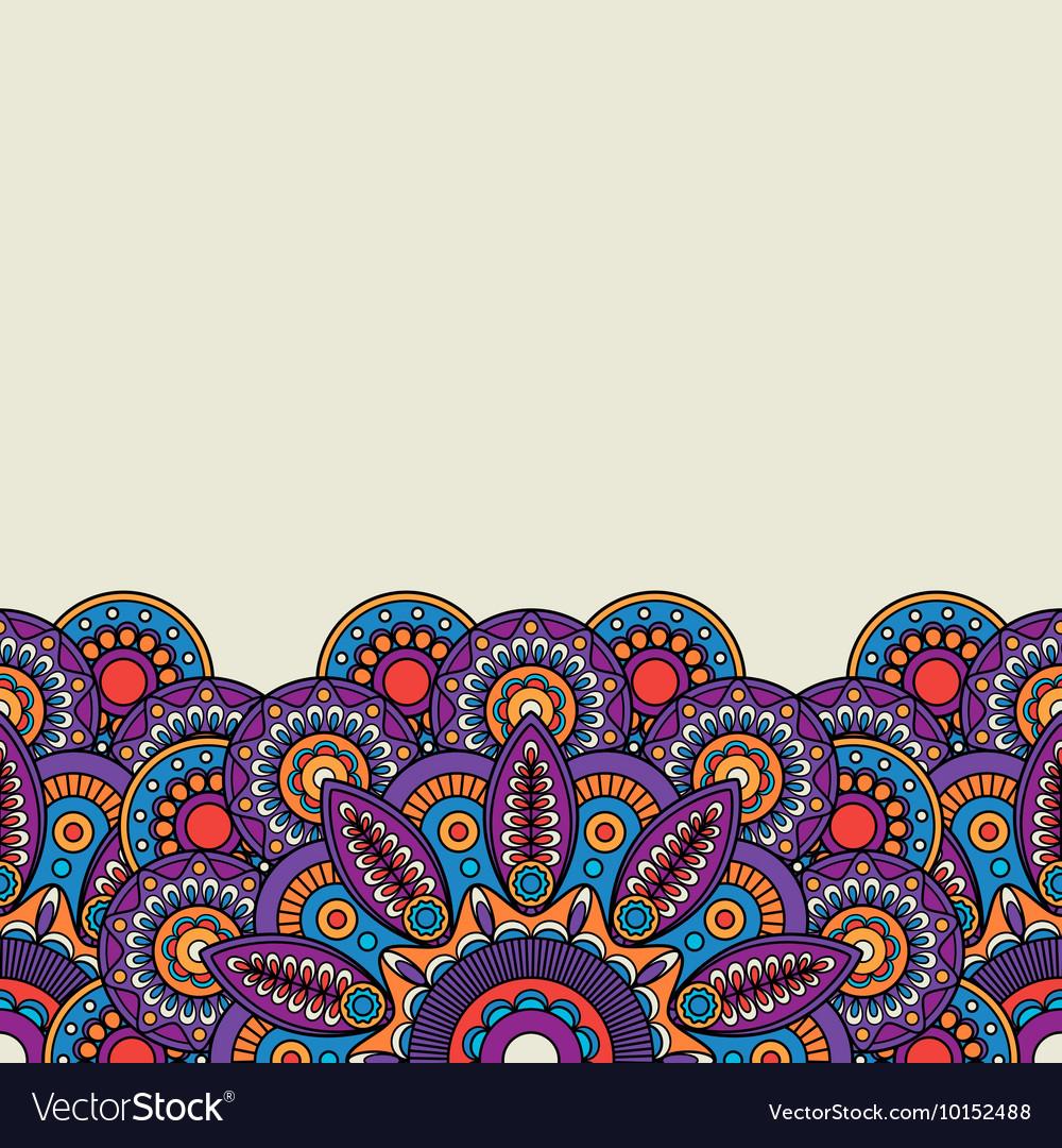 Ornate Indian hand drawn border vector image