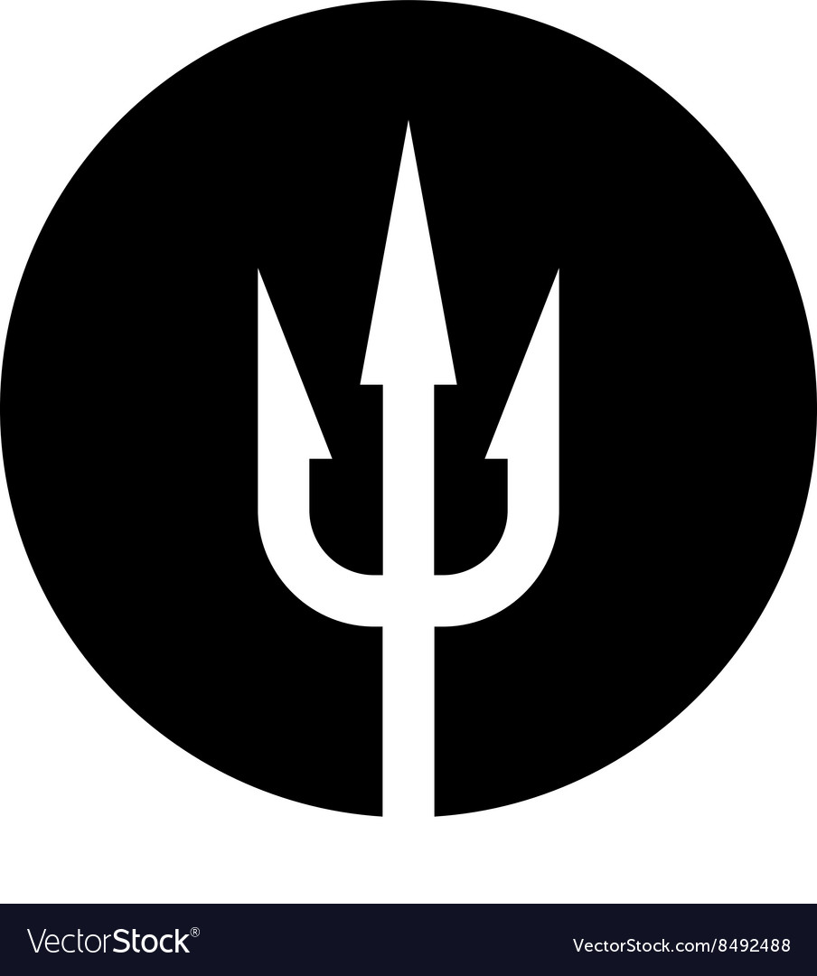 Trident icon White on a black round background vector image