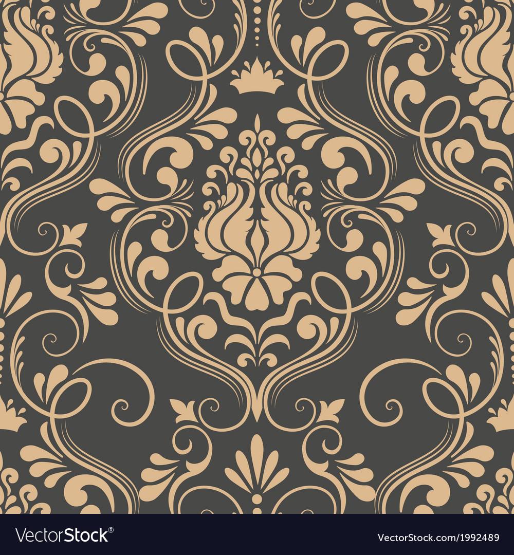 Vintage damask seamless pattern element vector image