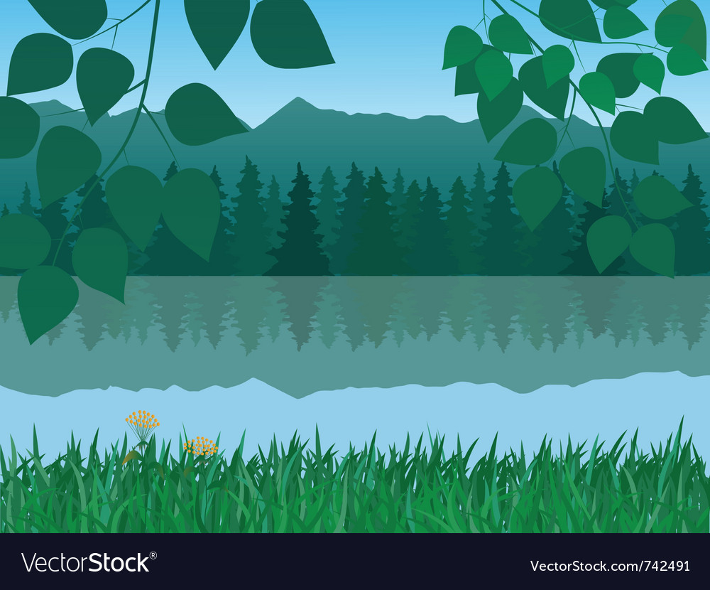 Mountains and lake vector image