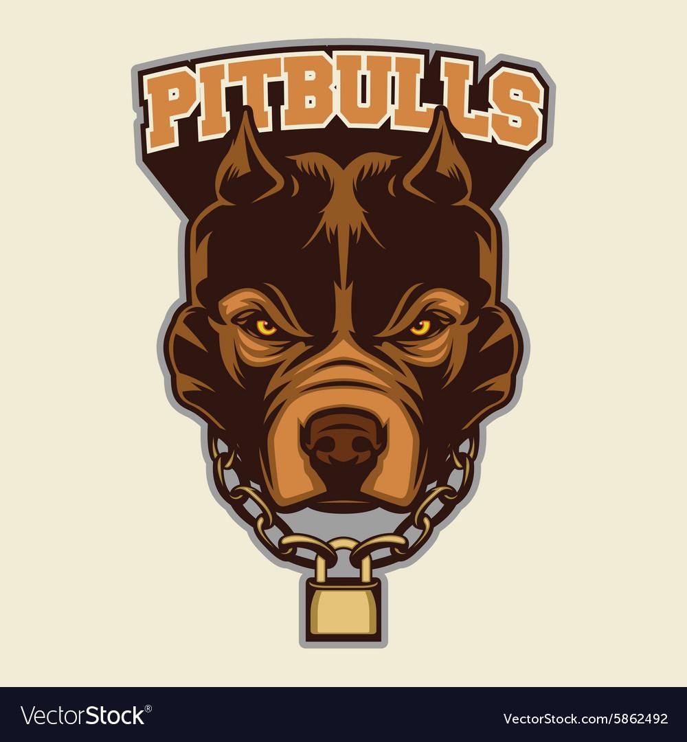 Pitbull Head Macot vector image