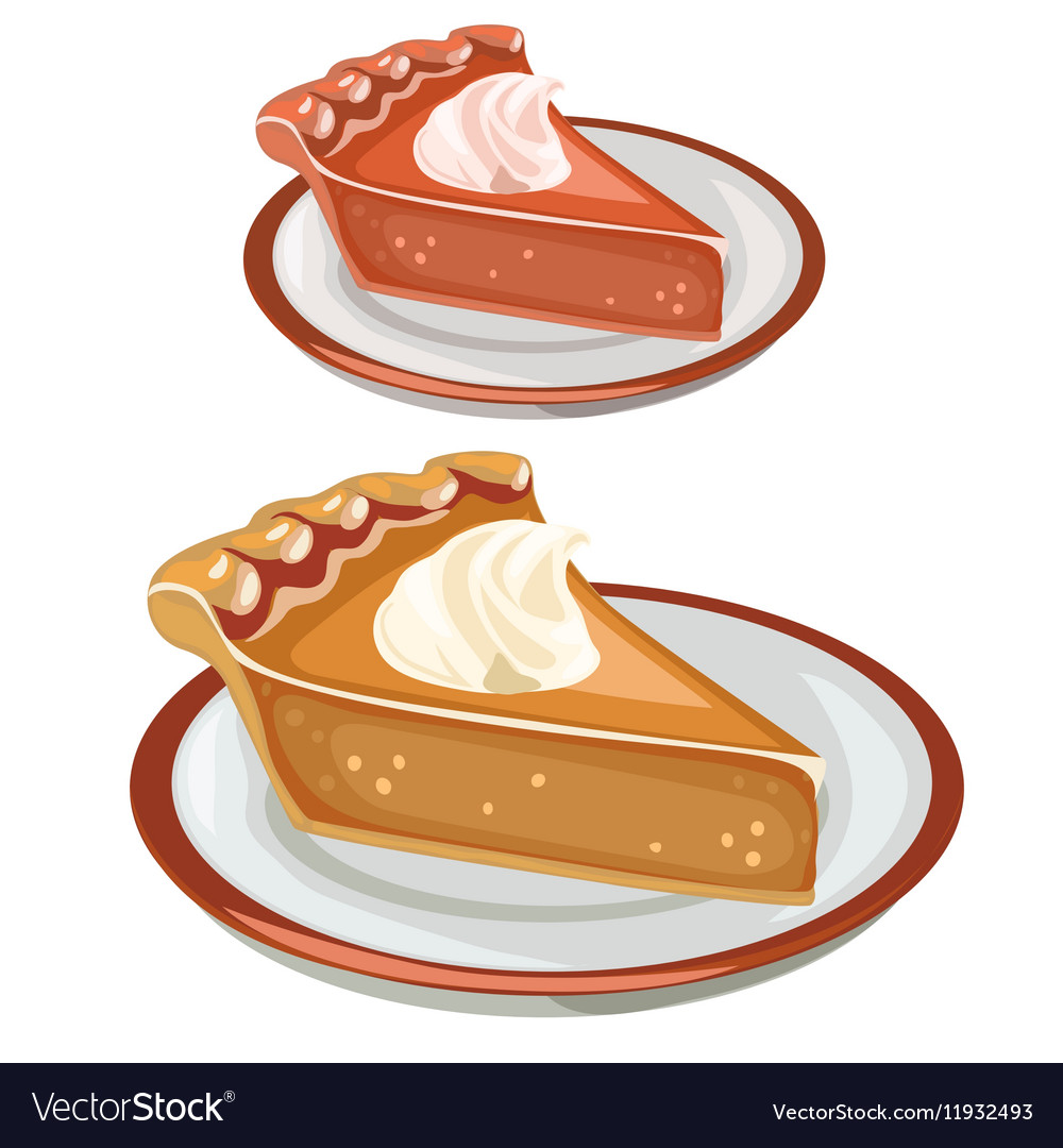 Two cake dessert on plates food isolated vector image