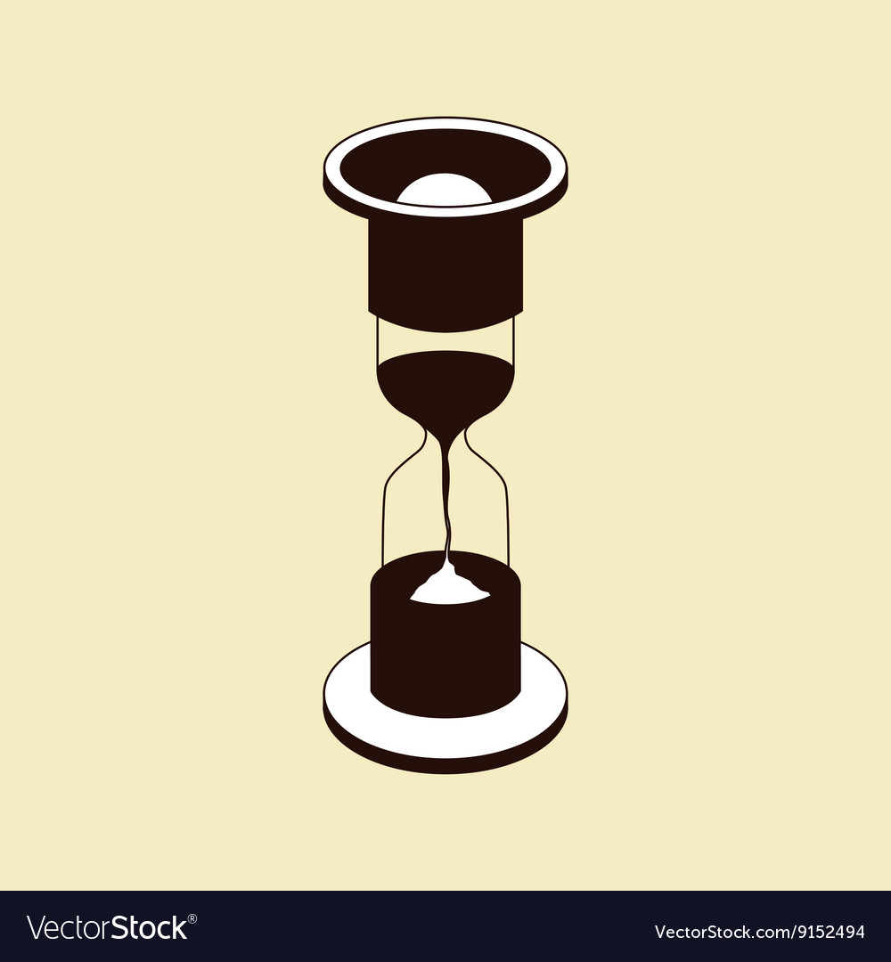 Brown hourglass icon on beige background vector image