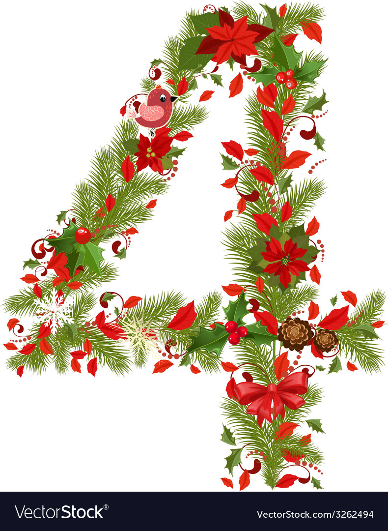 Christmas Floral Tree Number 4 Vector Image