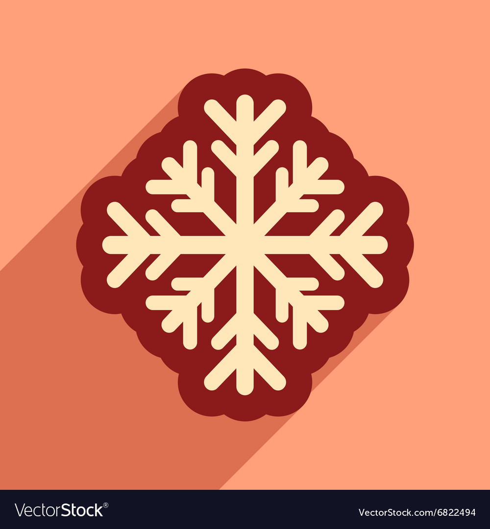 snowflake flat icon with long shadow