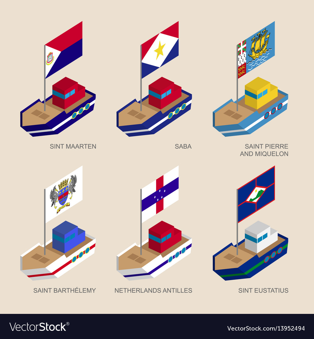 Isometric ships with flags of caribbean countries vector image