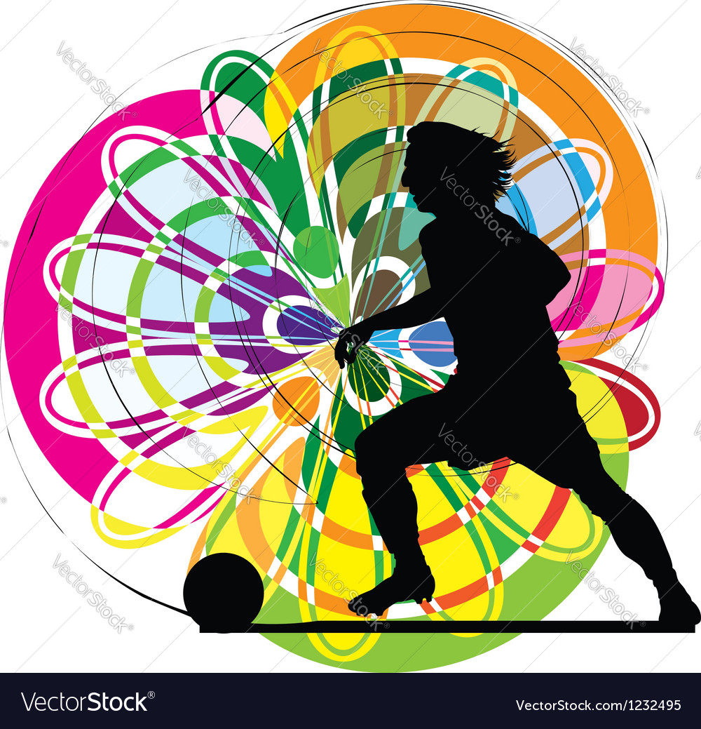 Football player in action vector image