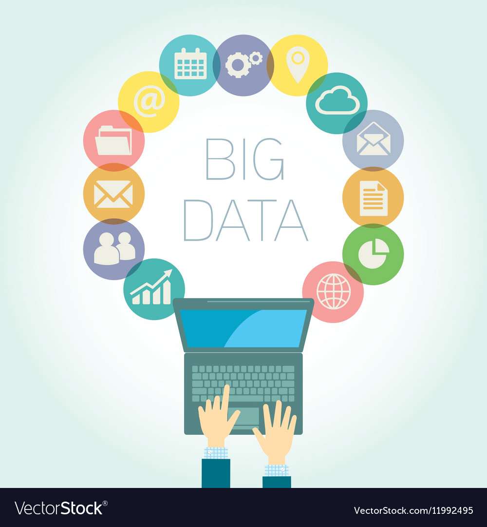 Analyst Big data icons vector image