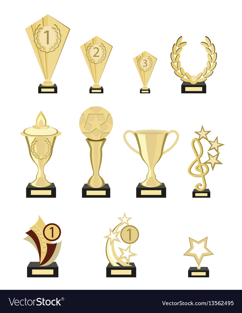 Set of awards from pure gold for participation in vector image
