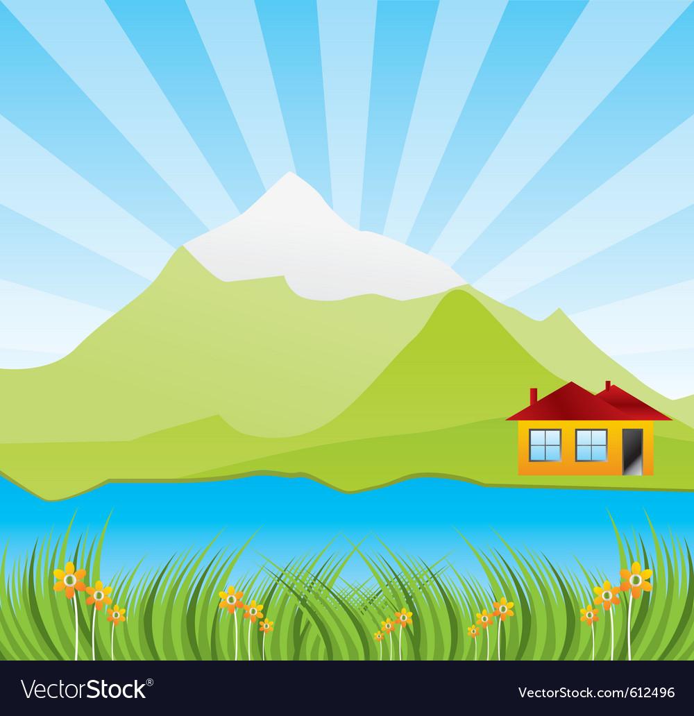 Spring sunny landscape vector image