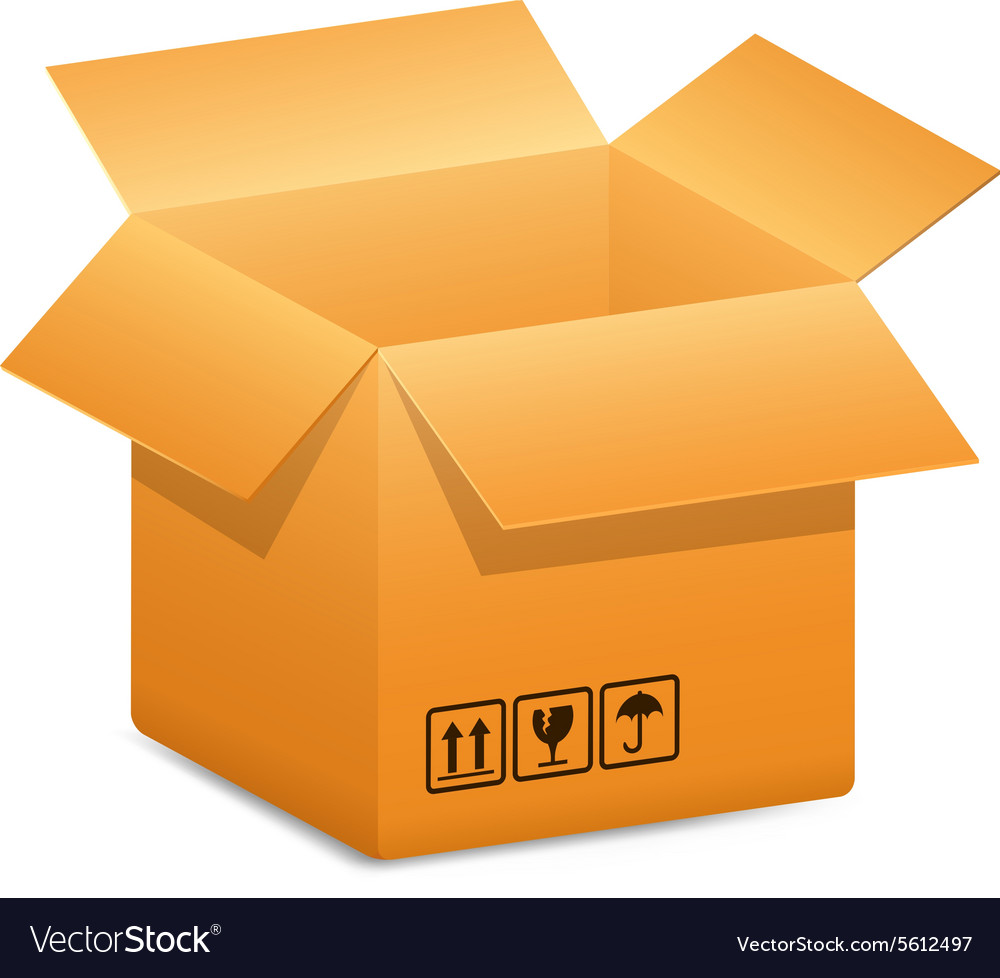 Open-box-blue-arrow vector image