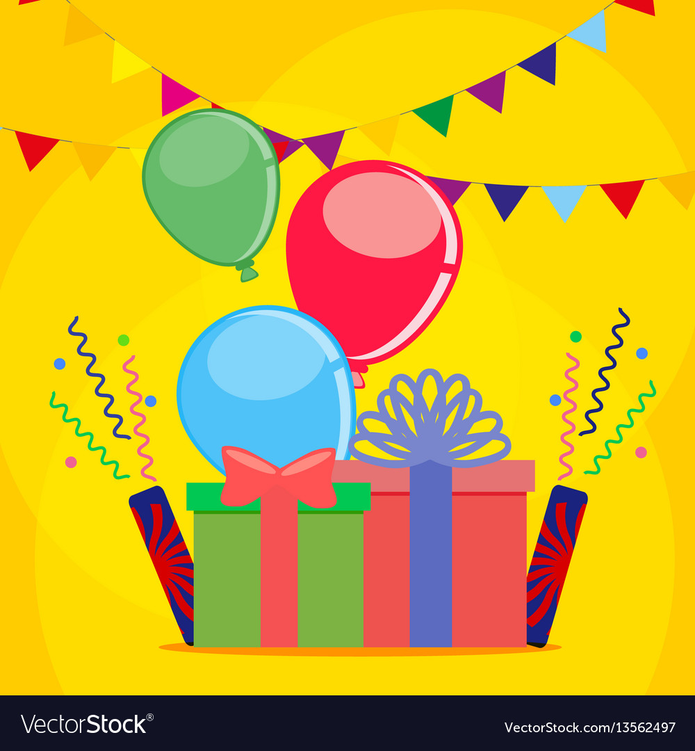 Postcard for the holiday or birthday with the vector image